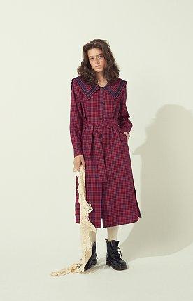 CHECK SHIRTS DRESS - RED