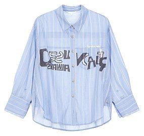 레터링 그래픽 스트라이프 셔츠