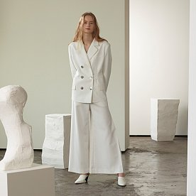 Blanc Waist Belted Blazer_Cream White