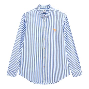 지브라 스티치 스트라이프 패턴 코튼 셔츠