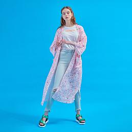 플라워 Journey long robe [Tinted pink]