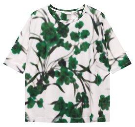 블러 그래픽 다트 코튼 티셔츠