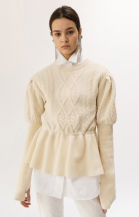19FW PUFF-SLEEVED CABLE KNIT TOP (IVORY)