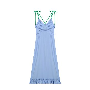 RUFFLE SLIP DRESS - BLUE