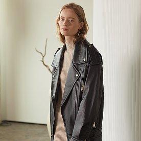 Van Sleeve Pointed Leather Jacket_Zet Black