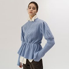 19FW PUFF-SLEEVED CABLE KNIT TOP (SKY BLUE)