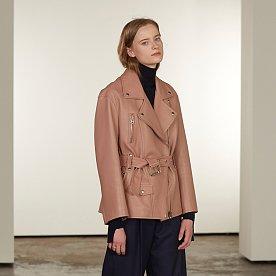 [차예련,김설희,김보라,정유진 착용]Matisse Lambs Leather Rider Jacket_Coral Beige