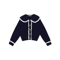 BIG COLLAR CARDIGAN - NAVY