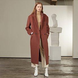 Roi Cashmere Blended Oversized Long Coat_Brick