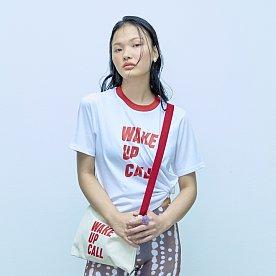 WAKE UP CALL CREW NECK TEE-RED