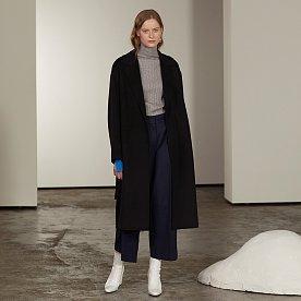 Manet Cashmere Blended Wool Coat_Deep Black