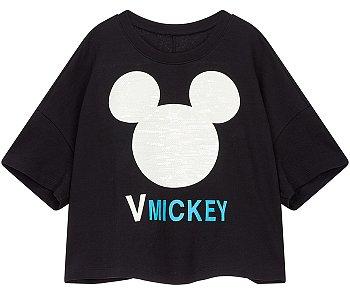 미키 장식 드롭숄더 티셔츠