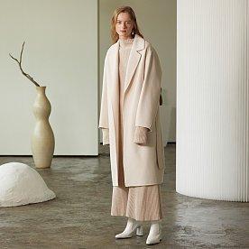 Manet Cashmere Blended Wool Coat_Elegance Ivory