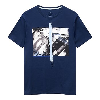 빌딩 브러쉬 그래픽 코튼 티셔츠