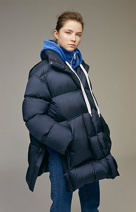 Oversized quilted shell down jacket