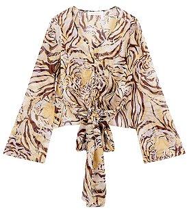 타이거 패턴 유니크 셔츠