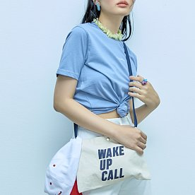 WAKE UP CALL CANVAS BAG-NAVY