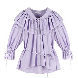 [이사배 착용] COTTON RUFFLE BLOUSE - PURPLE