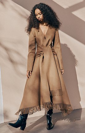 Handsewn double-faced wool body wrap coat