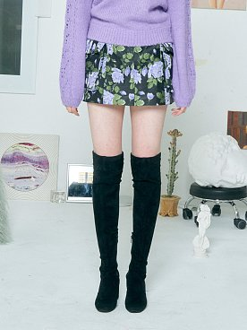 FLOWER JACQUARD MINI SKIRT [PURPLE]