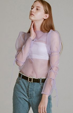 19SS PUFF-SLEEVE ORGANZA BLOUSE (LIGHT PURPLE)