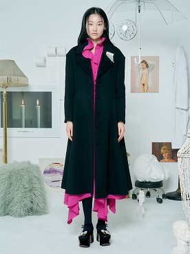 Flare Wool Coat [BLACK]