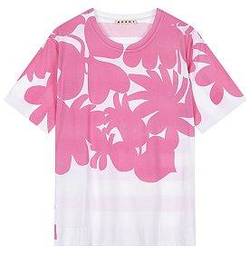 시즈널 패턴드 라운드 반팔 티셔츠