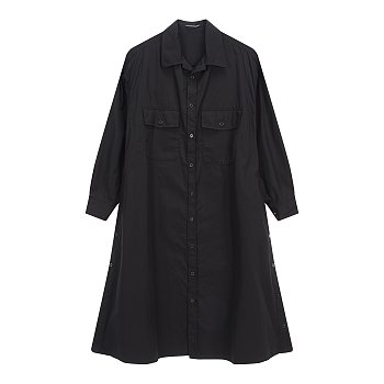 [+NOIR]투 포켓 롱 셔츠 코트