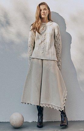 Asymmetric draped paneled cotton skirt