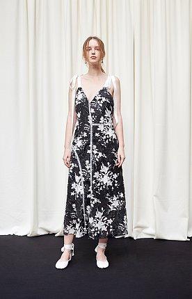 Burn-out fringed floral printed paneled dress