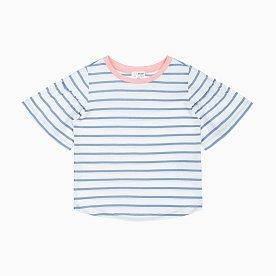 스트라이프 5부 프릴 티셔츠_블루