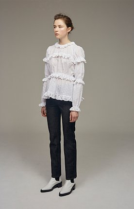 Broderie-anglaise ruffle-trimmed gathered blouse