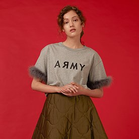 ARMY FEATHER T-SHIRT(GREY)