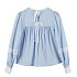 LACE TAPE PUFF BLOUSE - BLUE