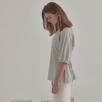 Iero Belted Point Cotton Top_Light Gray