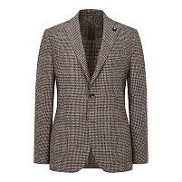울 블렌드 체크 패턴 싱글 자켓