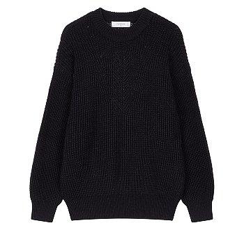 [CHIC] 배색 짜임 라운드넥 스웨터