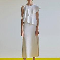 Asymmetric ruffled sleeveless cotton-jersey dress