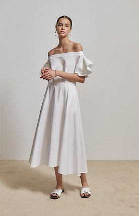 Agnes off-the-shoulder ruffled sleeved cotton satin dress