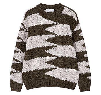 [CHIC] 조직변형 텍스쳐 라운드 스웨터