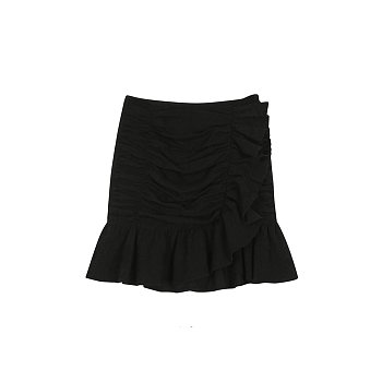 JACQUARD COTTON SKIRT - BLACK