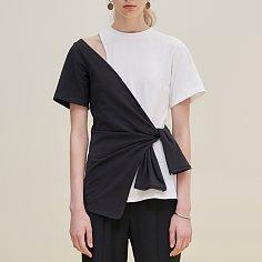 Asymmetric body wrap top