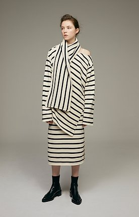 Striped cotton-jersey with scarfed top