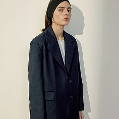 Navy Oversize Asymmetric Wool Jacket