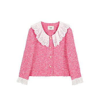 LACE COLLAR TWEED JACKET - PINK
