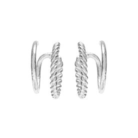 Midnight Sun Illusion Hoop Earrings_SILVER