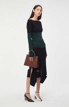 ASYMMETRIC CUT OUT WOOL SKIRT (BLACK)