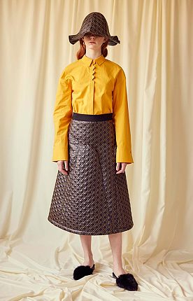 Yellow Wave Button Stand Shirt