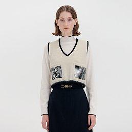 QUITA V-neck Short Vest - Ivory