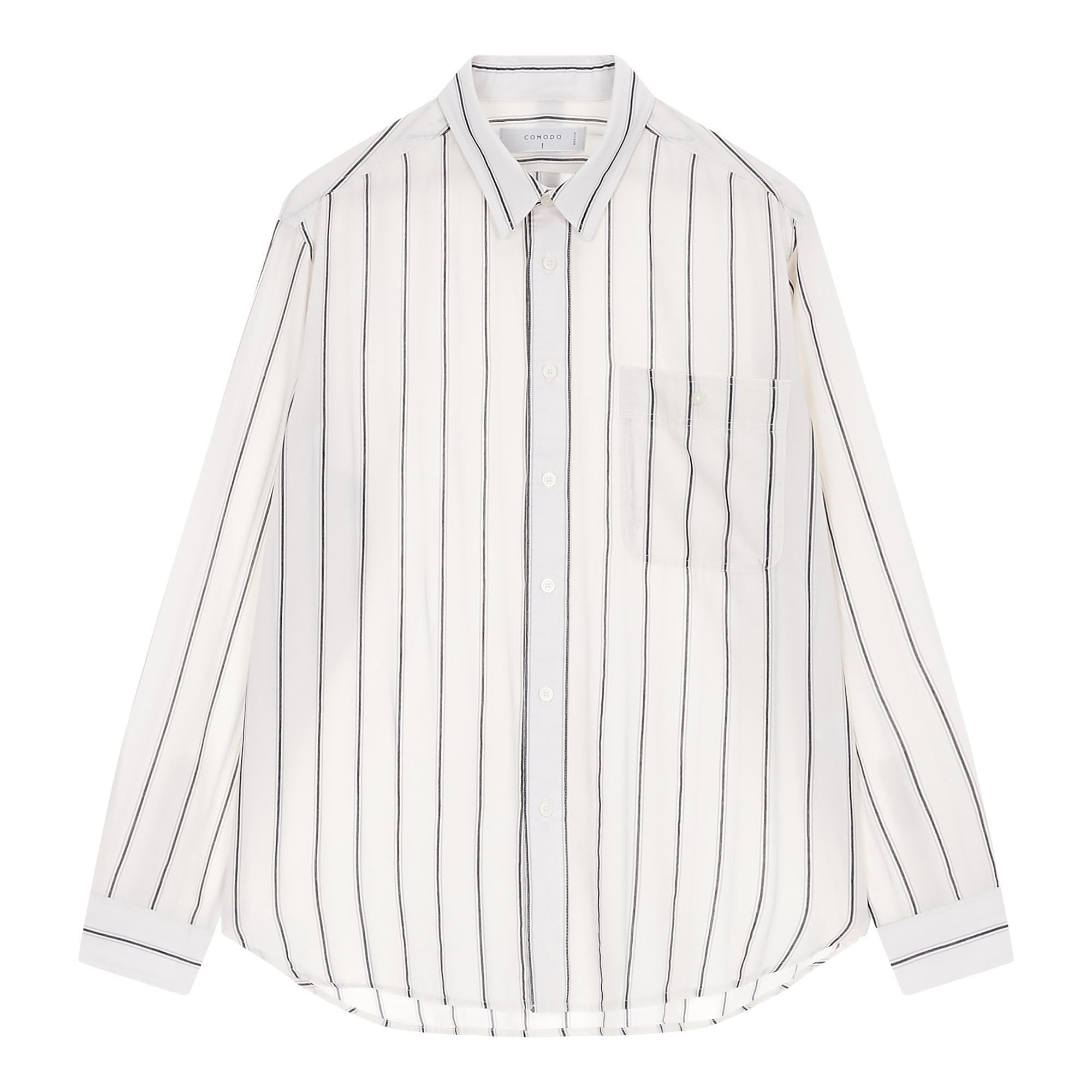 [COOL] 블랙 데코 스트라이프 긴팔 셔츠